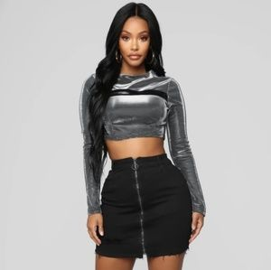 Fashion Nova Rockstar Vibes Long Sleeve Crop Top